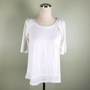Lululelom White 3/4 Sleeve Top Size 8